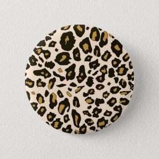 Leopard print pattern pinback button