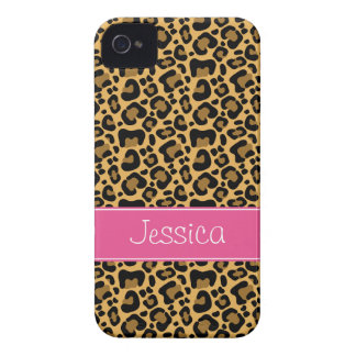 Leopard Print Pattern Pink Personalized iPhone 4 Case