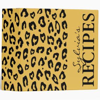Leopard print pattern recipe binder book