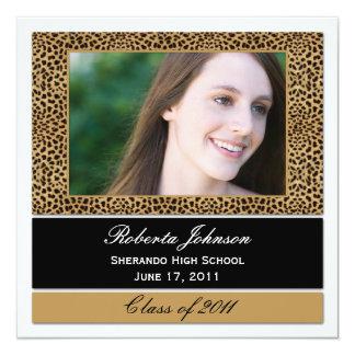 Leopard Print Photo Graduation Invitation