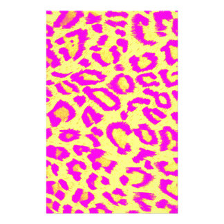 Leopard Print Pink and Yellow Abstract Artwork Stationery