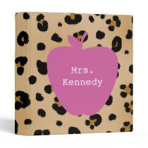 Leopard Print Pink Apple Teacher 3 Ring Binder