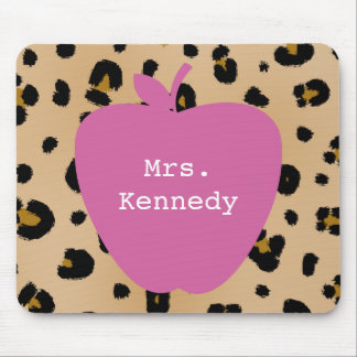 Leopard Print Pink Apple Teacher Mouse Pad