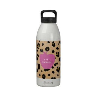 Leopard Print Pink Apple Teacher Reusable Water Bottles