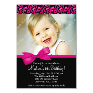 Leopard Print Pink Bow 1st Birthday Girl Photo 5x7 Paper Invitation Card