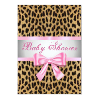 "Leopard Print Pink Bow Baby Shower Invitation 5"" X 7"" Invitation Card"
