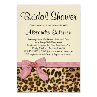 Leopard Print Pink Bow Bridal Shower Invitation