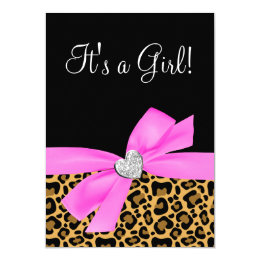 Leopard print baby shower invitations announcements zazzle leopard print pink bow diamond girl baby shower card filmwisefo Gallery