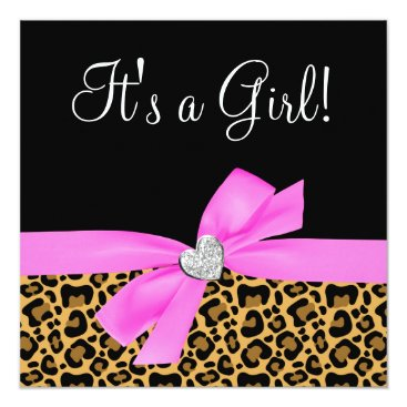 Toddler & Baby themed Leopard Print Pink Bow Diamond Girl Baby Shower Card