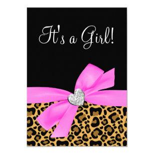 Leopard print baby shower invitations zazzle leopard print pink bow diamond girl baby shower invitation filmwisefo