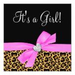 Leopard Print Pink Bow Diamond Girl Baby Shower Invitation