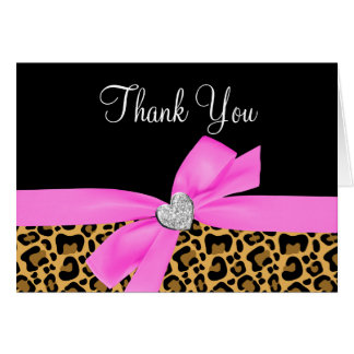 Leopard Print Pink Bow Diamond Thank You Card