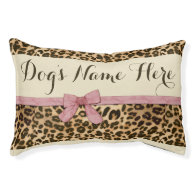 Leopard Print Pink Bow Female Girl Dog Bed Small Dog Bed