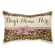 Leopard Print Pink Bow Female Girl Dog Bed