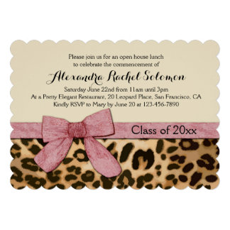 Leopard Print Pink Bow Graduation/Party Invitation