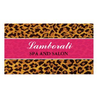 Leopard Print Pink Fashion Designer Elegant Modern Business Card Template