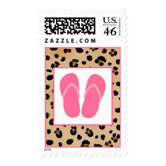 Leopard Print & Pink Flip Flops Postage