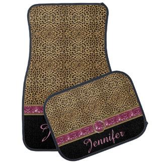Leopard Print Pink Gemstone Jewel Monogram Car Floor Mat