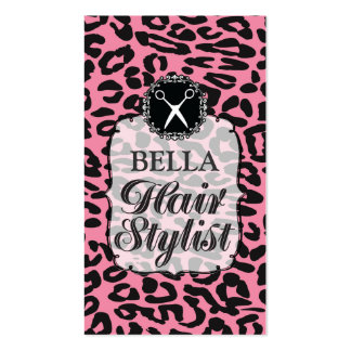 Leopard Print Pink Hair Stylist Appointment Cards