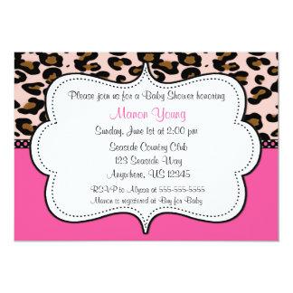 Leopard Print Pink Invitaiton 5x7 Paper Invitation Card