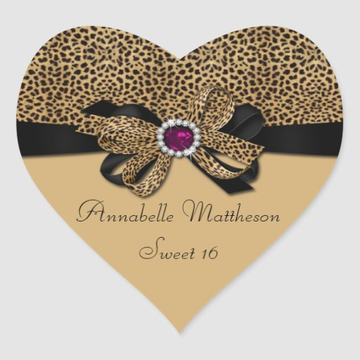 Leopard Print Pink Jewel Diamonds Sweet 16 Hear Sticker