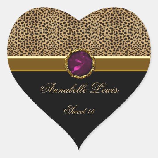 Leopard Print Pink Jewel Sweet 16 Heart Sticke Heart Sticker