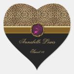 Leopard Print Pink Jewel Sweet 16 Heart Sticke Sticker