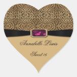 Leopard Print Pink Jewel Sweet 16 Heart Sticker