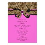 Leopard Print Pink Jewels Diamonds Sweet 16 Invitation