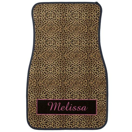 Leopard Print Pink Monogram Floor Mats