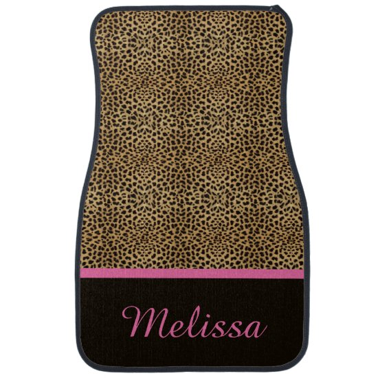 Leopard Print Pink Monogram Set of 4 Floor Mats