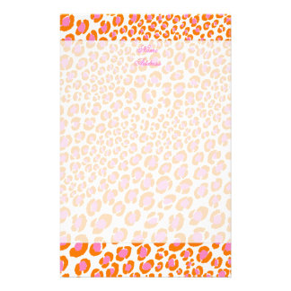 Leopard Print Pink + Orange/Add background color!! Stationery
