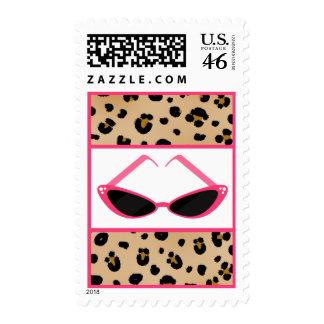Leopard Print Pink Retro Sunglasses Postage
