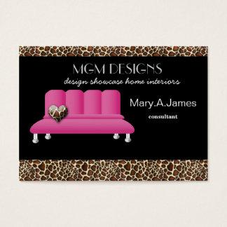 leopard print pink sofa trendy interior decorator business card