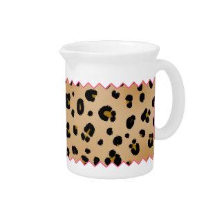 Leopard Print & Pink Zig Zag Pitcher