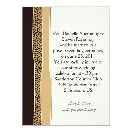 Leopard print post wedding invitation zazzle for Wedding invitation printing ahmedabad