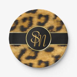 Leopard Print Precious Gold Initials - Paper Plate