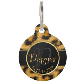 Leopard Print Precious Gold Monogram - Pet Tag