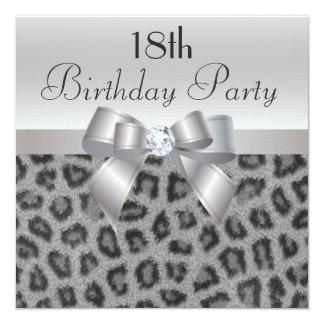 Leopard Print, Printed Bow & Diamond 18th Birthday Invitation