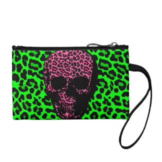 leopard print punk skull lime green pink coin purse