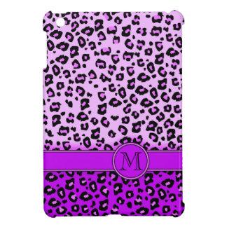 Leopard print purple black monogram ipad mini case