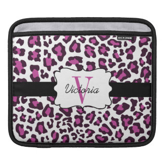 Leopard Print Purple Black White iPad Sleeve