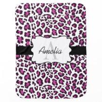 Leopard Print Purple Black White Swaddle Blanket