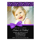 Leopard Print Purple Bow 1st Birthday Girl Photo Card