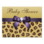 Leopard Print, Purple Bow Baby Shower Card