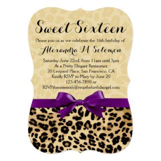 Leopard Print Purple Bow Sweet 16 Party Invitation