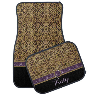 Leopard Print Purple Gemstone Jewel Monogram Floor Mat