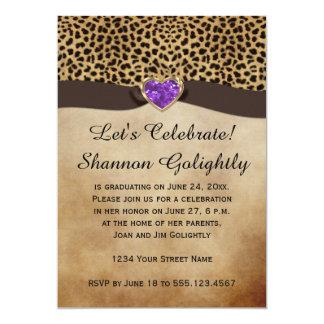 "Leopard Print Purple Heart Bling Graduation Party 5"" X 7"" Invitation Card"