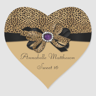 Leopard Print Purple Jewel Diamonds Sweet 16 Heart Heart Sticker