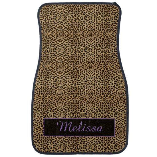 Leopard Print Purple Monogram Floor Mats